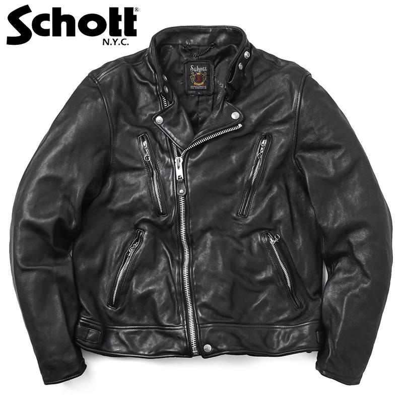 【20%OFFクーポン対象】Schott ショット 3181067 ダブル ブレスト ライダースジャケット《WIP》ミリタリー 軍物 メンズ 男性 ギフト プレゼント【Sx】