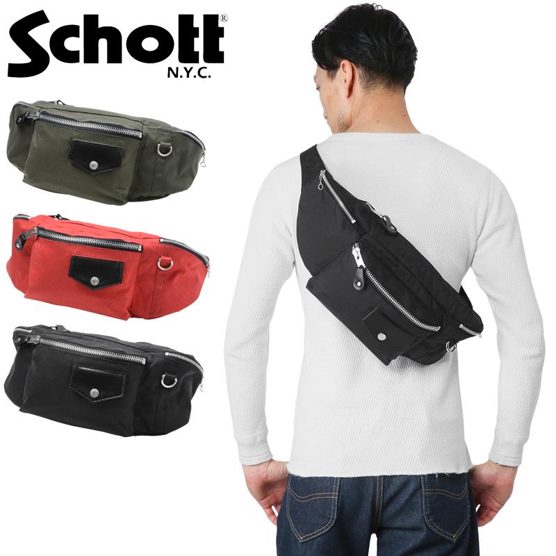 【20%OFFクーポン対象】Schott ショット 3169014 NYLON RIDERS ボディバッグ《WIP》ミリタリー 軍物 メンズ 男性 ギフト プレゼント