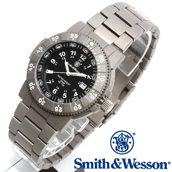 【クーポン対象外】 Smith & Wesson スミス&ウェッソン SWISS TRITIUM 357 SERIES EXECUTIVE WATCH 腕時計 TITANIUM SILVER/BLACK SWW-357-T-BLK《WIP》ミリタリー 軍物 メンズ 男性 ギフト プレゼント