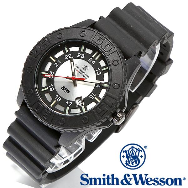 【クーポン対象外】 Smith & Wesson スミス&ウェッソン SWISS TRITIUM M&P WATCH 腕時計 BLACK/SILVER SWW-MP18-GRYミリタリー 軍物 メンズ  【キャッシュレス5%還元対象品】