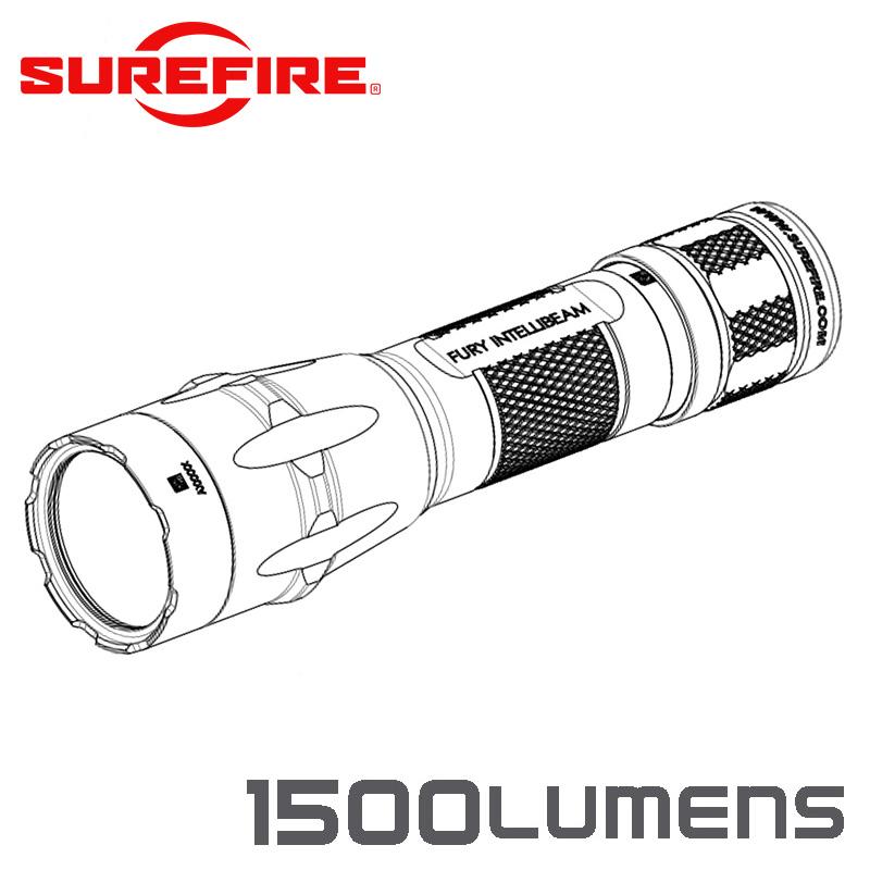 SUREFIRE シュアファイア FURY INTELLIBEAM Auto-Adjusting Dual Fuel LEDフラッシュライト / 1500ルーメン(FURY-IB-DF)【クーポン対象外】【キャッシュレス5%還元対象品】