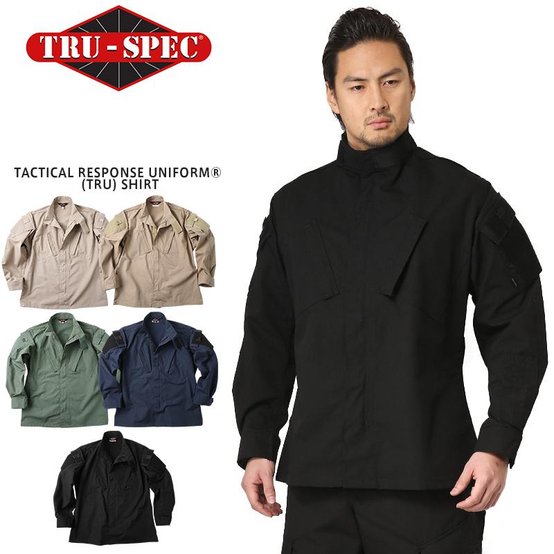 TRU-SPEC トゥルースペック Tactical Response Uniform ジャケット(シャツ) SOLID COLOR(1286 KHAKI / 1269 COYOTE / 1284 OLIVE DRAB / 1282 NAVY / 1288 BLACK)【クーポン対象外】【Px】ミリタリー 軍物 メンズ  【キャッシュレス5%還元対象品】