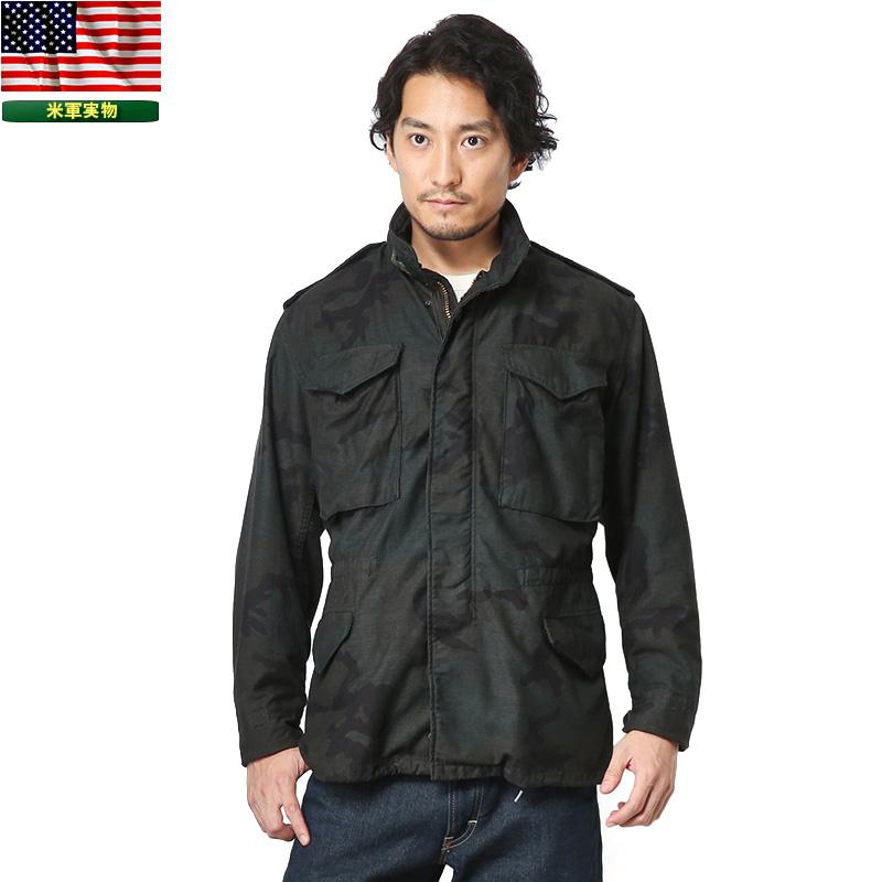 実物 米軍G.I. M-65 フィールドジャケット WOODLANDベース BLACK染め 【クーポン対象外】ミリタリー 軍物 メンズ  【キャッシュレス5%還元対象品】