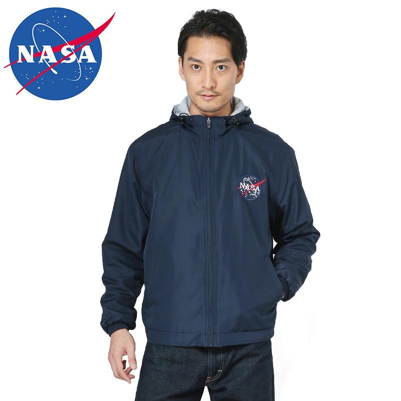 NASA公式 OFFICIAL ナサ オフィシャル COLLEGIATE ジップアップ パーカー NAVY BLUE/ミリタリー 軍物 メンズ  【キャッシュレス5%還元対象品】
