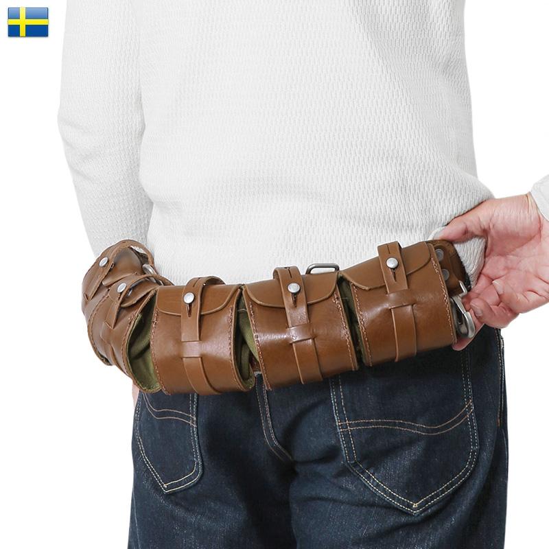 【20%OFFセール開催中】新品 スウェーデン軍 5ポケット レザー バンダリアポーチ 後期型《WIP》ミリタリー 軍物 メンズ 男性 ギフト プレゼント