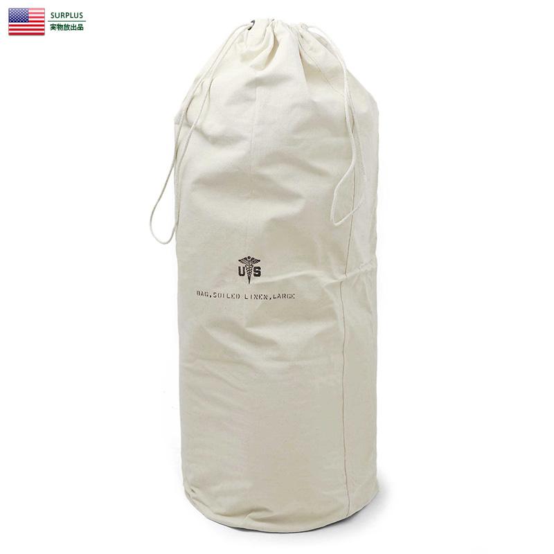 実物 新品 米軍 LINEN キャンバス ランドリーバッグ LARGE / ミリタリー アメリカ軍 軍物 実物放出品 ミリタリーバッグ