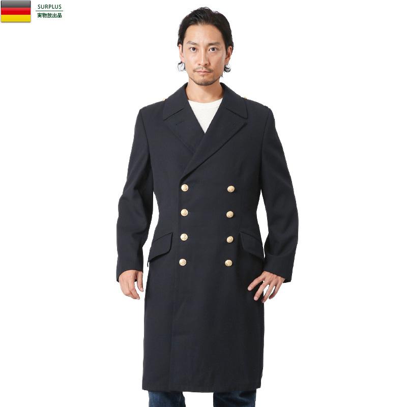 実物 USED ドイツ海軍 ロングオーバーコート ネイビー / ミリタリー ユーロミリタリー ミリタリーコート【キャッシュレス5%還元対象品】