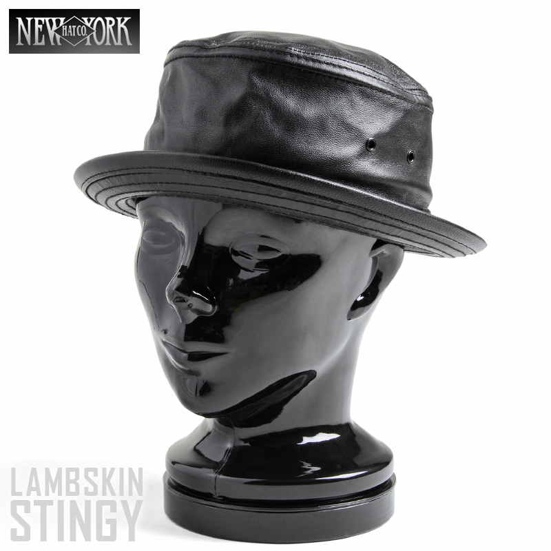 【20%OFFセール開催中】New York Hat/ニューヨークハット LAMBSKIN STINGY 9246 ポークパイハット BLACK《WIP》 ミリタリー 男性 ギフト プレゼント