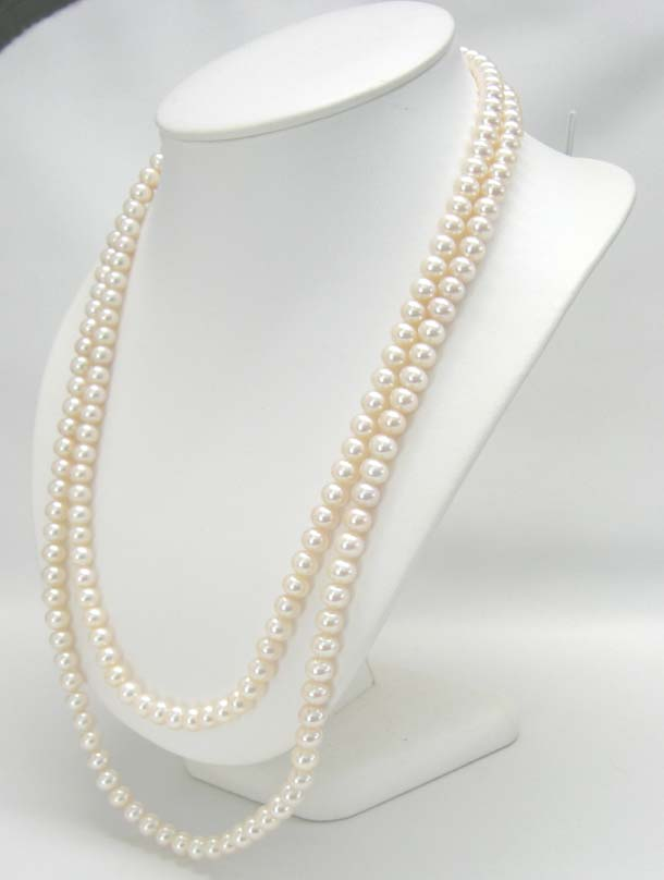 【DM便可】淡水パールロングネックレス120cm7mm-7.5mmAA(52)【ホワイト系】【淡水真珠】【本真珠】【エンドレス】【6月誕生石】【旧メール便】