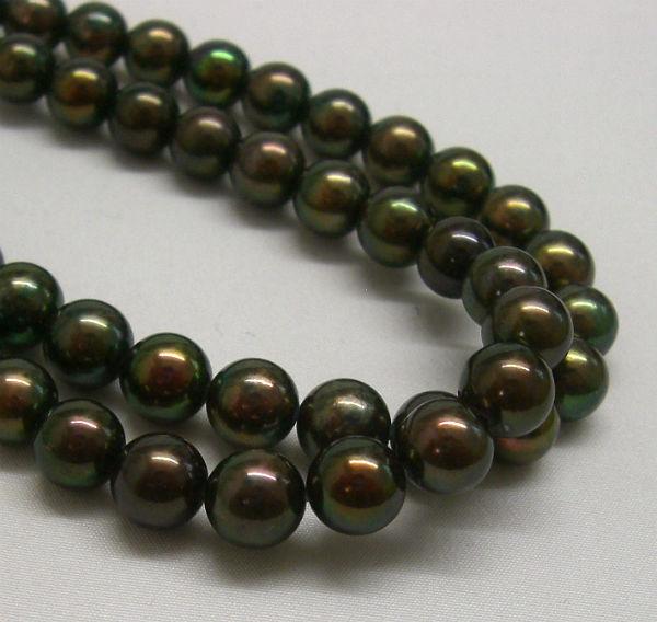 【宅配便送料無料】(513)あこや真珠ネックレス7.5mm-8mmピーコック系ラウンド金具SVクラスプ6月誕生石長さ約38センチ39センチ40センチ41センチ黒真珠
