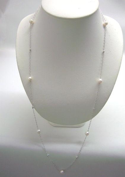 【宅配便送料無料】アコヤ真珠ステーションネックレス75cm(512)7ミリー7.5ミリ(ホワイトピンク)ケース付き 6月誕生石