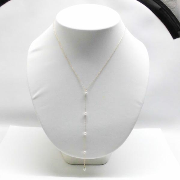 (053)アコヤ真珠ネックレス 3.5ミリー4ミリ ケース付き 6月誕生石 チェーン K18 ベビーパール