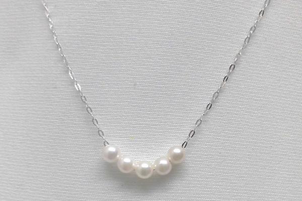 (121)アコヤ真珠 K14レスポンスチェーン ベビーパールスルーネックレス 5珠3.5ミリー4ミリ 5粒5個【6月誕生石】