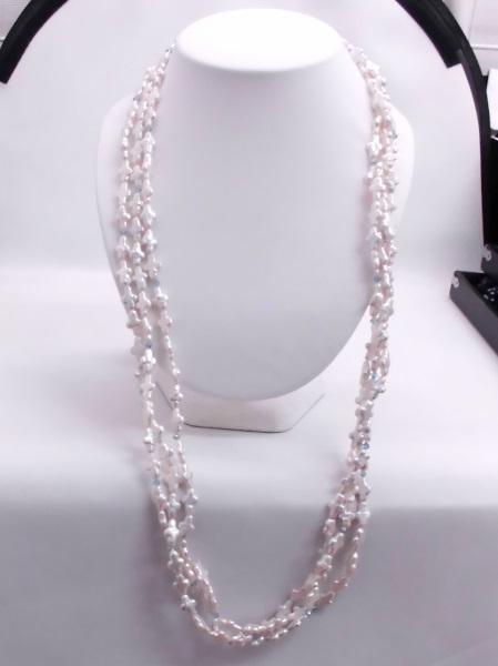 (120)淡水真珠ロングネックレスねじり三連 クロススワロスキーオリジナルファッションネックレス 結婚式/女子会/上品/華やか多連ゴージャス
