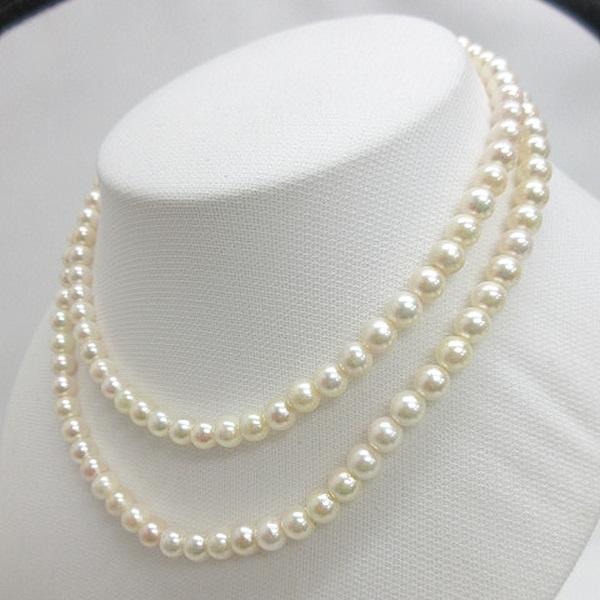 【訳あり】(154)あこや真珠 ネックレス 6.5mm-7mm ラウンド系 ホワイト系 クラスプ花 長さ約80センチ 6月誕生石