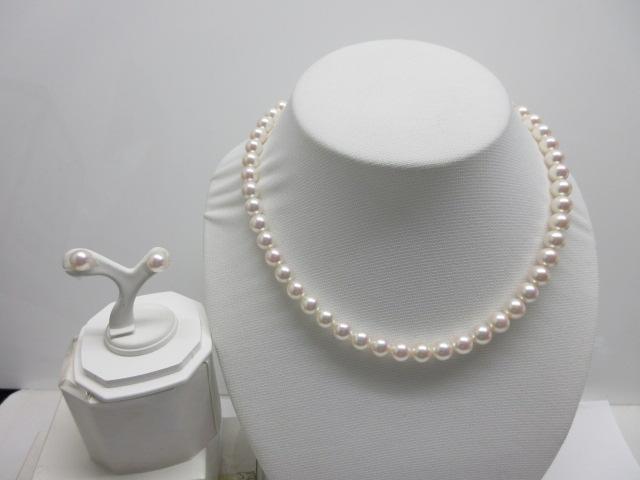 (167)オーロラ花珠級 あこや真珠ネックレスとピアスかイヤリングの2点セット8mm-8.5mm ホワイトピンク品質証明書付き 高品質 本真珠 ラウンド 長さ約38センチ39センチ40センチ41センチ 連パールネックレス パールピアス パールイヤリング6月誕生石