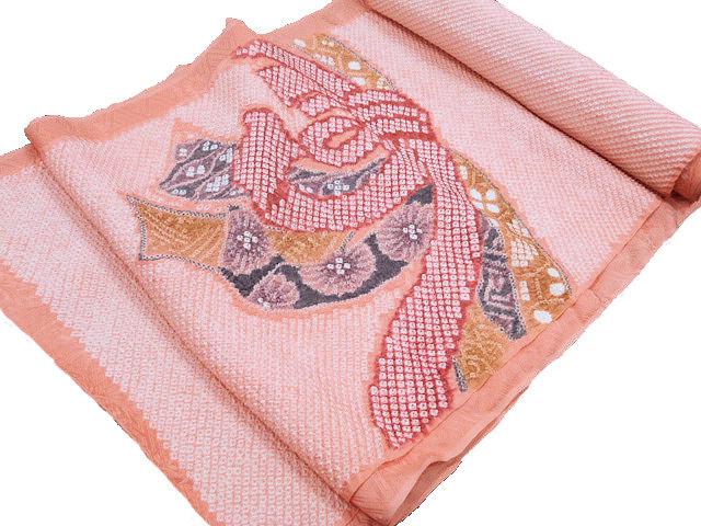 正絹絞り名古屋帯【きぬたや藤娘】少々難あり 未仕立て品
