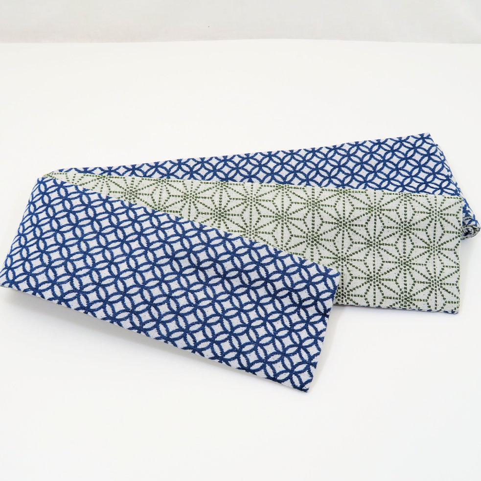 米織小紋柄角帯(麻の葉柄×七宝柄)【日本製】リバーシブル 男帯