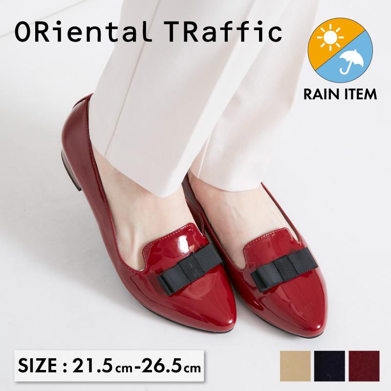 大きい 小さい 今だけスーパーセール限定 靴 21.5~26.5cm SS 商舗 3L 通年 晴雨兼用 レインパンプス 《ORientalTRaffic》 雨の日 オリエンタルトラフィック 撥水 防水 おしゃれ エナメル 梅雨 歩きやすい レインシューズ 雨靴
