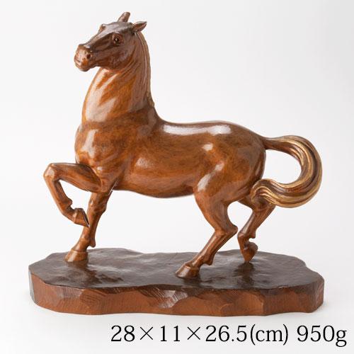 相原明雲作 木彫り馬の置物 春風 Carved wooden horse figurine, Aihara Meiun