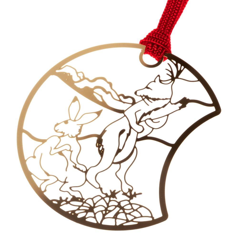 鳥獣戯画しおりD きつねとうさぎ (CJG004) 金の栞シリーズ 24K表面加工 金属製ブックマーカー Metal bookmark, Choju-giga