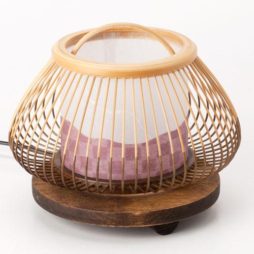 駿河竹千筋細工 行燈 行灯 小さな赤富士 静岡県伝統工芸品 伝統工芸士・大村竹心坊 作 Suruga-takesensuji-zaiku, Paper lantern made of bamboo sticks