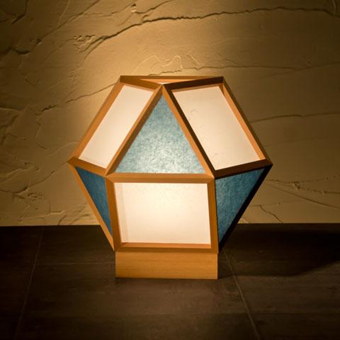 和風スタンドライト 行灯 的 mato 白×藍 1灯タイプ (AP522-D)