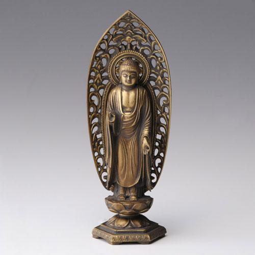 仏像・八体仏 高岡鋳物 阿弥陀如来像 15cm (BZ-008) 戌・亥年生まれのお守本尊 インテリア鋳造仏 Casting Buddha statue Takaoka imono Amida nyorai