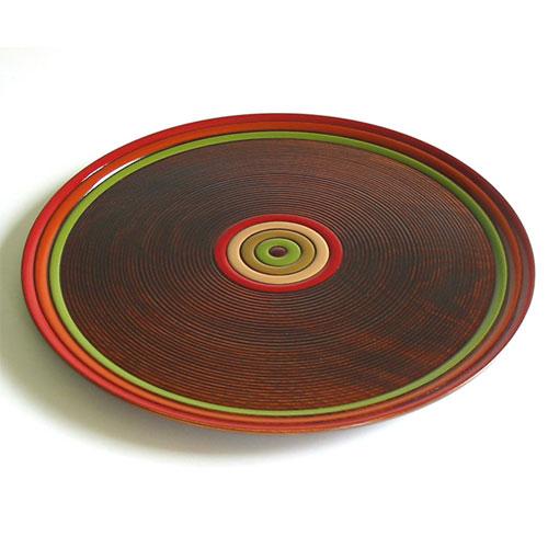 丸盆 独楽文様 尺一 (NC-605) 木製・漆塗りのお盆 直径33cm