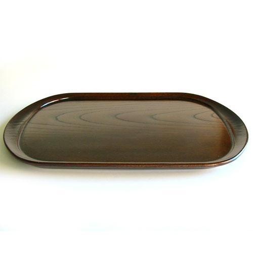 楕円盆 和楽 欅 (AT-485) 木製・漆塗りのお盆 長さ42.5cm