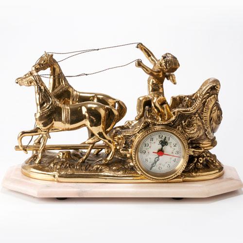アンティーク置き時計 天使と馬 真鍮製 イタリア製 店舗・オフィス・新築祝いに