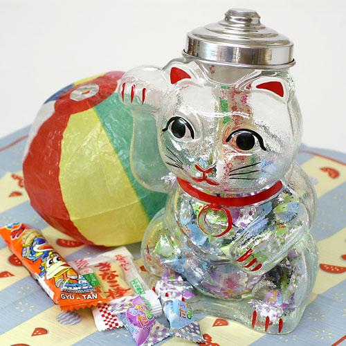 招き猫 菓子ビン 大 レトロ感ある懐かしのガラス瓶 Confectionary bottle of glass