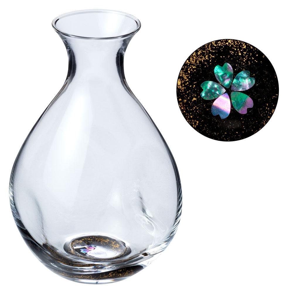 高岡漆器鑲嵌玻璃瓶金櫻桃和黑富山縣傳統工藝品高岡 shikki 螺鈿玻璃的緣故杯清酒