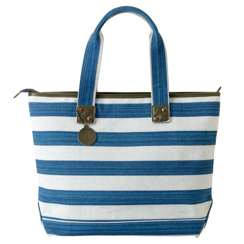 小島屋 帆布のボーダートート ブルー×ブルー 武州正藍染トートバッグ 埼玉県の工芸品 Tote bag made of indigo dye fabric, Saitama craft