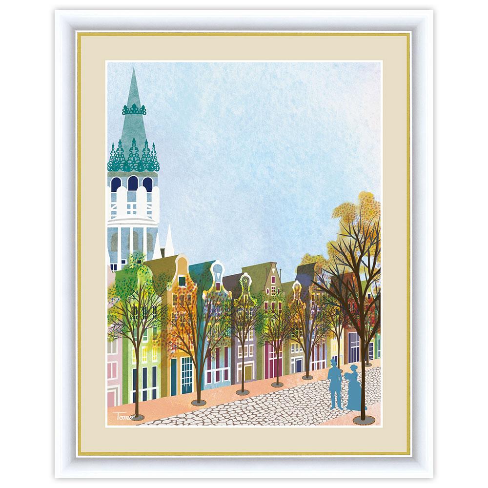 街路樹のある風景 秋の町並み F6サイズ 公式通販 インテリアアート額絵 人気海外一番 横田友宏