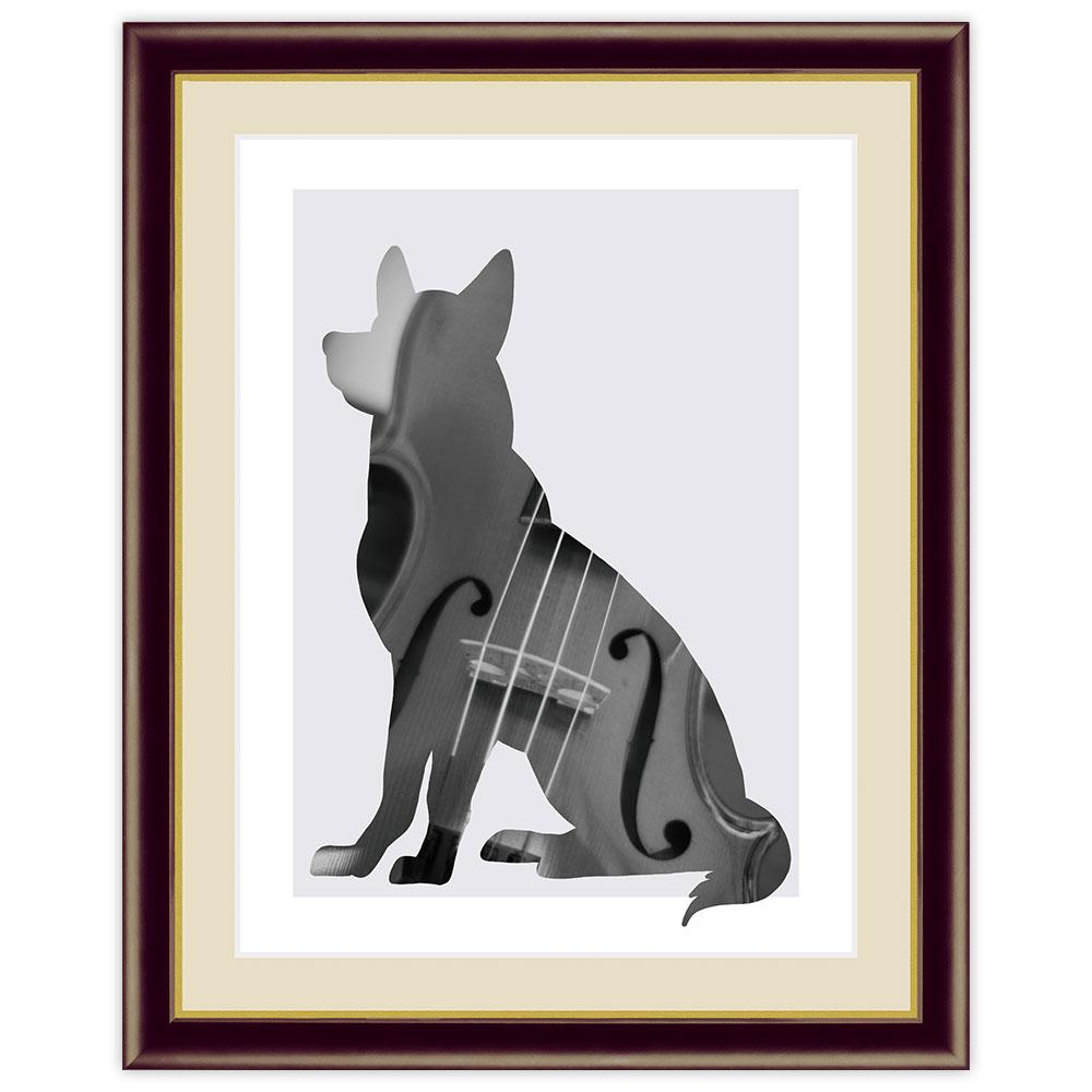 モノトーンアート DogCat 激安 Violin 山口美咲 インテリアアート額絵 F6サイズ 安心の定価販売