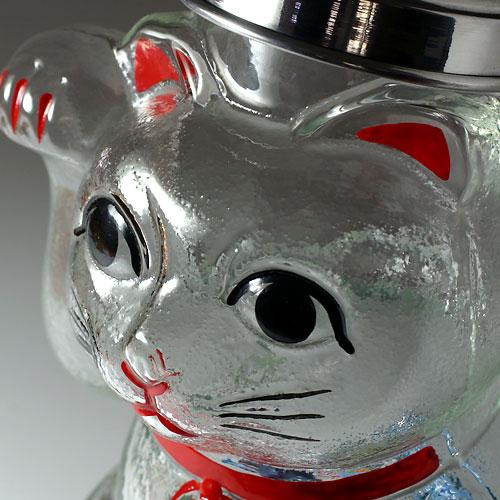 廣田硝子/招き猫ガラス瓶大