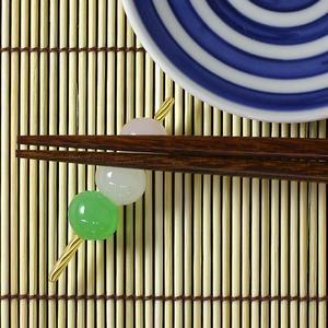 Japanese sweet chopstick rest three colors dumpling of the Hirota glass glass