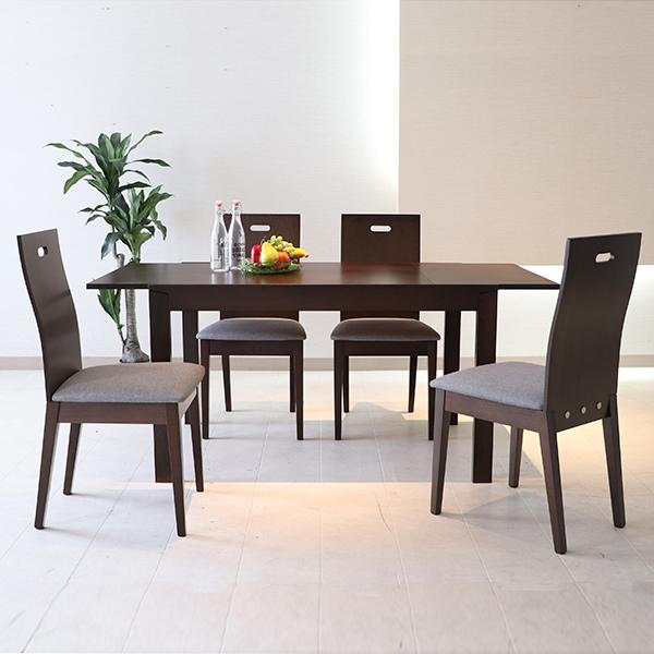 ダイニングテーブル5点セット 伸縮 伸長式 4人掛け 4人用 木製 食卓テーブル おしゃれ 北欧 ダイニングセット テーブルセット
