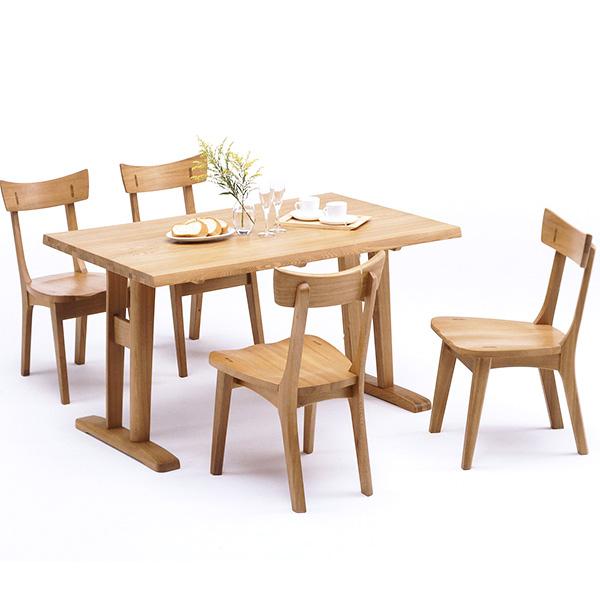 ダイニングセット ダイニングテーブルセット ナチュラル タモ 木製 5点セット 幅135cm テーブル 椅子 四人掛け