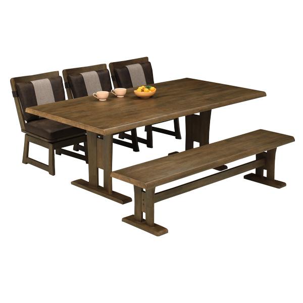 ダイニングセット ダイニングテーブルセット 和風 モダン おしゃれ 木製 6人掛け ダイニング5点 和モダン 回転チェア ベンチ チェア 幅190cm 食卓セット 送料無料