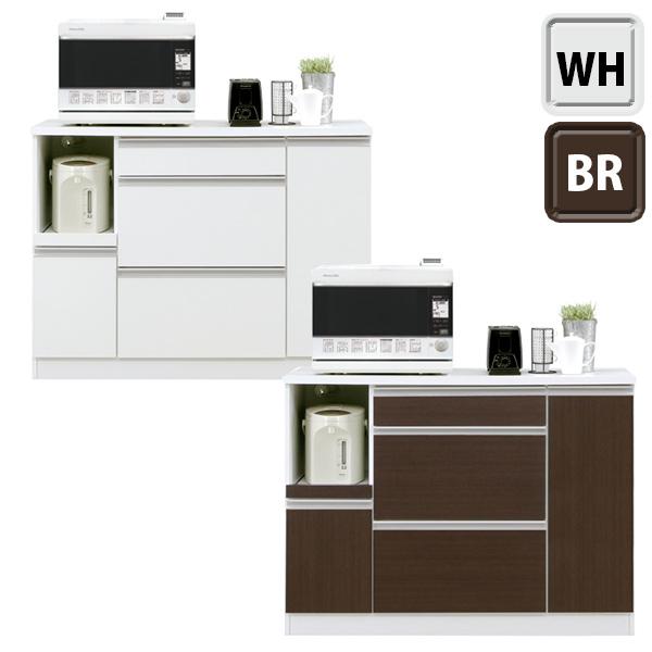 キッチンカウンター キッチンボード 完成品 幅120cm レンジ台 キッチン棚 キッチン収納 家電収納 スライドカウンター付 コンセント付 送料無料