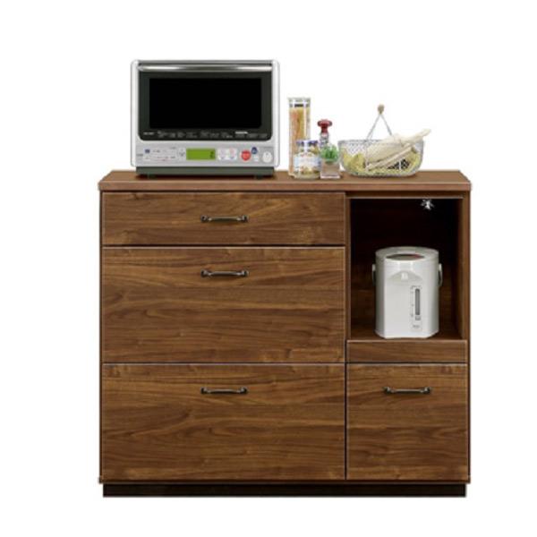 キッチンカウンター カウンター キッチン収納 家電収納 フルオープンスライドレール MOISS 完成品 大川家具