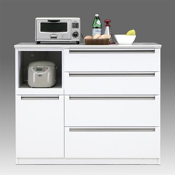 キッチンカウンター キッチン台 120 キッチン収納 完成品 おしゃれ ホワイト レンジ台 国産 間仕切り 引き出し 収納 白 カウンター 背面化粧