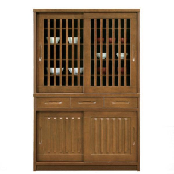 カップボード 食器棚 ダイニングボード キッチンボード キッチン収納 木製 完成品 引き戸 幅120cm 和風 完成品 【 開梱設置無料 】 幅120 和風 大川家具