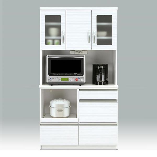 ダイニングボード レンジボード キッチン収納 ホワイト キッチンボード 幅100cm 食器収納 白 コンセント付き 日本製 ミストガラス 国産 送料無料