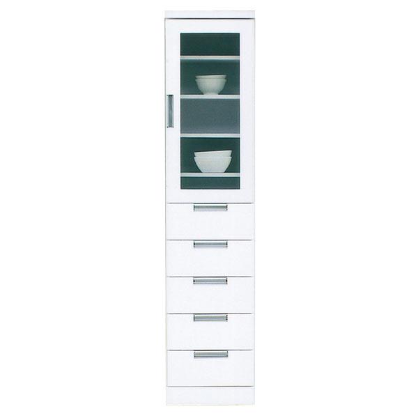 食器棚 カップボード スリム 隙間収納 幅40cm キッチン収納 鏡面 ホワイト 白 おしゃれ 隙間家具 完成品