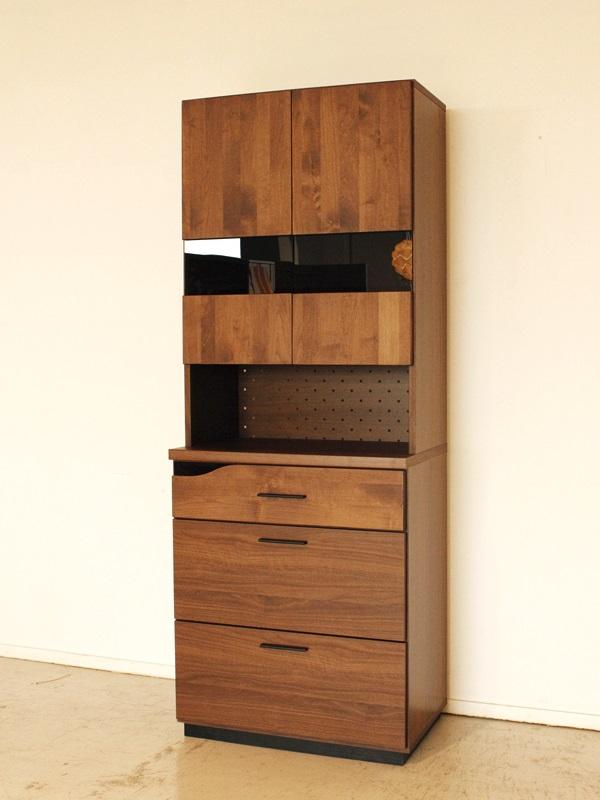 キッチンボード カップボード キッチン収納 シンプル ブラウン 食器収納 幅70cm 食器棚 ダイニングボード 完成品