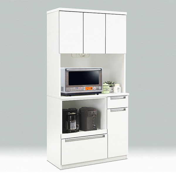 ダイニングボード レンジボード キッチン収納 ホワイト キッチンボード 幅90cm 食器収納 白 コンセント付き 日本製 スライドカウンター 国産