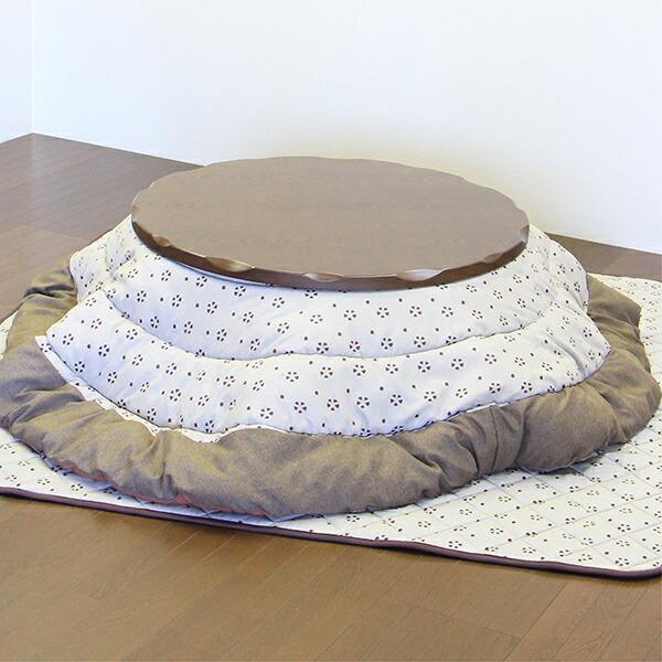 こたつセット コタツ3点 幅105cm 円形 丸型 テーブル 木製 座卓 継ぎ脚付き 継脚 家具調 ロータイプこたつ